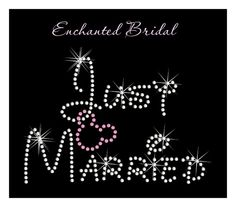 Disney Inspired Just Married With Dangling Mickey Rhinestone Transfer DIY Wedding Bling via Etsy