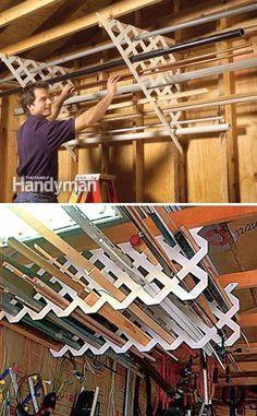 Garage Organization Tips, Garage Storage Systems, Diy Garage Storage, Shed Storage, Storage Ideas, Organizing, Wall Storage, Garage Tool Organization, Garage Storage Cabinets