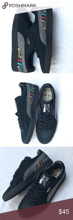 f1afa675c2dc1d NWOT Puma BLk suede sneakers with pattern Sz men 9 NWOT black sued Puma  tennis shoes