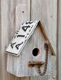 rustic birdhouse  recycled parts  license plates by ruraloriginals, $28.00