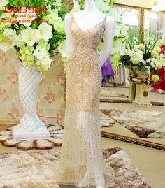 Luxury Gold Champagne Mermaid V Neck Beaded Sequins Crystal Diamond Rhinestone Evening Dresses 2015 Long Party Prom Gowns XE267