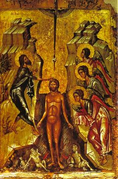 """From the first century of the Christian Church, there has always been """"The Festival of Lights"""". In the depth of Midwinter, this feast celebrated the advent of the Son of God's coming into the world. Baptism Of Christ, Jesus Christ, Russian Icons, Byzantine Icons, John The Baptist, Christian Church, Orthodox Icons, Festival Lights, Son Of God"""