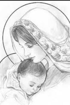 Jesus and Mother Mary Blessed Mother Mary, Blessed Virgin Mary, Virgin Mary Art, Catholic Art, Religious Art, Jesus Sketch, Mama Mary, Religious Pictures, Mary And Jesus