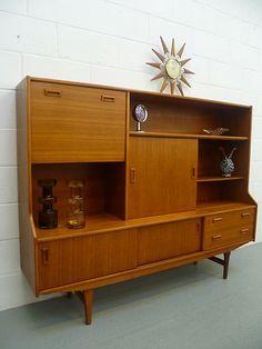 Retro Vintage Mid Century 60s 70s Sideboard Wall Unit Cabinet Danish Era | eBay