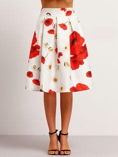 Falda flores línea A-(Sheinside)