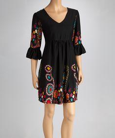 Black & Red Bell-Sleeve Dress