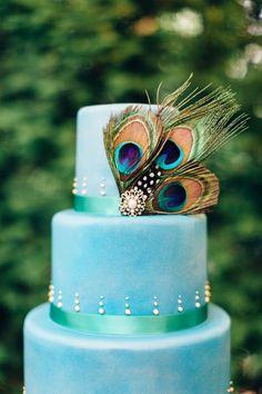 Peacick wedding cake