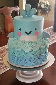 Whale baby shower cake - Under the sea theme - Made by SevenEves