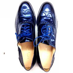 From Lucky magazine, May edition, Brian Atwood, too cute Cole Haan Oxfords, Cole Haan Shoes, Blue Suede Shoes, Shoe Boots, Shoe Bag, Brian Atwood, Hot Shoes, Midnight Blue, Patent Leather