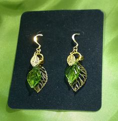 Green Glass and Brass Leaves Earrings by mistydlee on Etsy, $10.00