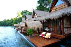 River Kwai Villa (A floating resort on the river Kwai, Thailand! Awesomeee.