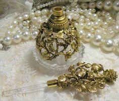 Vintage Perfume Bottle Matson Gilt Brass Ormolu Filigree. $68.00, via Etsy.