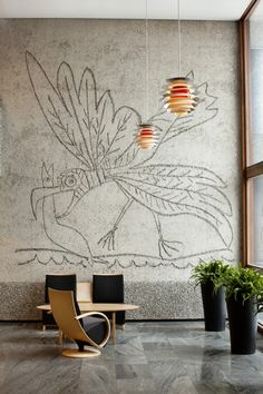 """Professionals Roar in Norway: Unique Architecture Under Threat from Government,From the Y-block. """"The Seagull"""" a mural by Pablo Picasso. Unique Architecture, Interior Architecture, Interior Walls, Interior And Exterior, Wall Finishes, Wall Treatments, Pablo Picasso, Wallpaper, Decoration"""