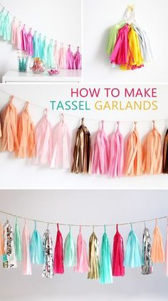 Cool diy room decor teen room decor ideas for girls tassel garland cool bedroom decor wall art signs 0 a 0 a 0 teen room decor diy room decor easy crafts Diy Tassel Garland, Diy Party Tassels, Diy Party Garland, Tassles Diy, Tissue Paper Garlands, Hanging Garland, Party Girlande, Diy Room Decor For Teens, Diy Birthday Decorations For Teens