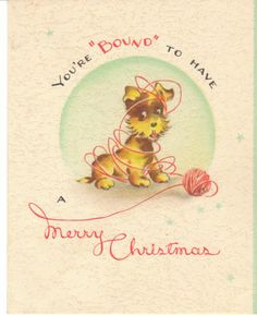 Vintage Christmas Card Terrier Dog Plays with Yarn Knitting Theme Dogs | eBay