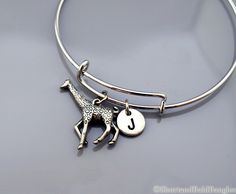 Large Giraffe bangle, Giraffe bracelet, Silver Giraffe, Expandable bangle, Personalized bracelet, Charm bangle, Monogram, Initial bracelet by ShortandBaldBangles on Etsy https://www.etsy.com/listing/193215326/large-giraffe-bangle-giraffe-bracelet