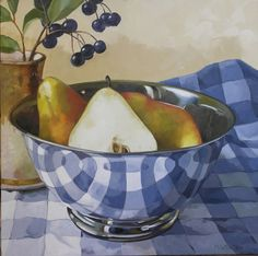 Pears in Silver Bowl on Gingham by Joanna Olson
