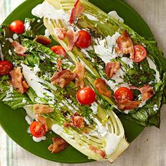 Who says a BLT has to be a sandwich? Not us! Grilling the romaine gives the salad a more subtle texture and a slightly smoky flavor. Yum more bacon and sundried tomato instead:-)