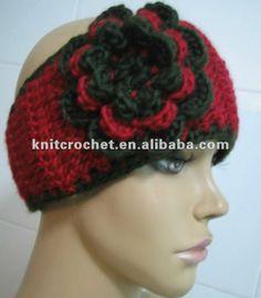 free headband ear warmer crochet pattern | ... Crochet Headwrap Ear Warmer Headband Hair Band with Big Crochet Flower