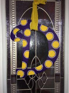 LSU inspired initial door hanger Initial Door Hanger, Door Hangers, Hanging Letters, Letter Art, Wooden Crafts, Lsu, Door Wreaths, Oil Paintings, Burlap