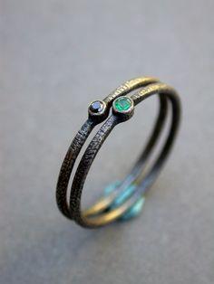 emerald black diamond wedding ring green engagement ring stackable wedding modern rings simple handmade jaime jo fisher modern bride auf Etsy, 281,36€