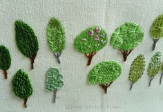 """I designed """"15 Trees"""" with simple composition to give confidence to members of my embroidery course, especially the beginning ones..."""