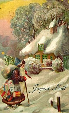 Stunning, vintage Christmas card from France, courtesy of Degrees North. Images Vintage, Vintage Christmas Images, Old Christmas, Old Fashioned Christmas, Christmas Scenes, Victorian Christmas, Father Christmas, Vintage Holiday, Christmas Pictures