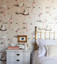 I ABSOLUTELY want to cover a wall with THIS flamingo wallpaper (at the beach house). *love love loves*