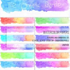 SALE! Pastel Watercolor papers. Watercolor headers, footers, borders, letterheads Digital papers Rainbow colors, pastel. Scrapbooking Stationery by LinePush on Etsy