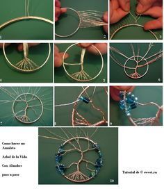 DIY Tree of Life Amulet - Directions in Spanish.  Video tutorial in English!