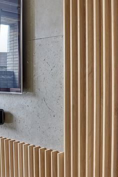 The Redchurch Loft was completed in 2014 by the London based design and architecture firm Studio Verve Architects. This elegant loft-warehouse style apartmentImage 3 of 15 from gallery of Redchurch Loft Apartment / Studio Verve Architects. Wood Cladding, Wood Slats, Wood Paneling, Panelling, Wood Doors, Timber Walls, Wood Panel Walls, Wall Wood, Concrete Wall