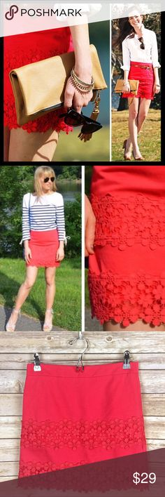 """j. crew // daisy lace stripe mini skirt coral pink A mini silhouette with maximum impact, thanks to a cotton lace we developed and placed in rugby-inspired stripes. Cotton. Back zip with hook-and-eye closure. Lined. Sits above waist. 15.5"""" long. Falls above knee. Absolutely love this with light blue or chambray! Great preowned condition. J. Crew Skirts Mini"""
