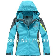 Free shipment ! discount Double Layer Windproof Waterproof  winter jacket for womens  snowboarding jacket blue $96.80