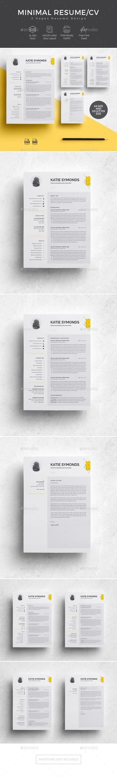 3 Pages Resume Template/CV - Resumes Stationery Presentation Design Template, Resume Design Template, Cv Template, Print Templates, Resume Templates, Stationery Printing, Stationery Shop, Stationery Templates, Stationery Design