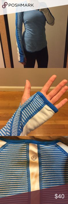 Lululemon long sleeve Blue & white striped Lululemon long sleeve. Super stretchy material! lululemon athletica Tops