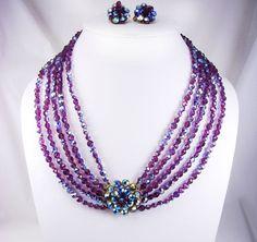 Vintage Statement necklace purple AB  CZECH by vintagesparkles, $425.00