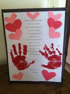 Valentine's Day Handprint Poem This is a sweet and simple activity that is sure to be a great gift for anyone on Valentine's Day. I am using these as gifts for my husband from the kids but these wo...