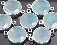2 pieces grade AAA aqua chalcedony gemstone bezel by JWbeads, $6.40