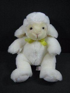 """White LAMB Soft w Yellow Bow RUSS PLUS 8"""" Plush Stuffed Toy B271"""