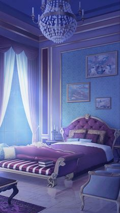 Episode Interactive Backgrounds, Episode Backgrounds, Anime Scenery Wallpaper, Aesthetic Pastel Wallpaper, Anime Places, Fantasy Background, Fantasy House, Galaxy Painting, Blue Bedroom