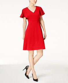 $79.99 Calvin Klein Flutter Sleeve A-Line Dress