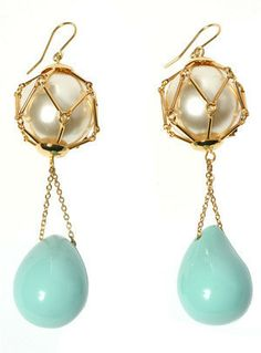 Turquoise and pearl earrings – lucyhutchings