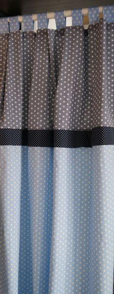 Gardinen & Vorhänge - Gardine Sterne HELLBLAU - ein Designerstück von stoffkaufhaus bei DaWanda