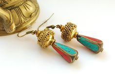Handmade earrings with antique Berber-beads, available on DaWanda.