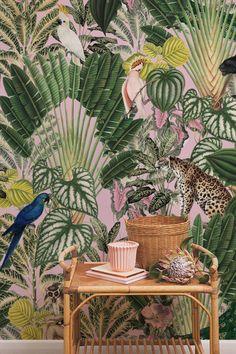 Pink Jungle Wallpaper, Parrot Wallpaper, Palm Leaf Wallpaper, Tropical Wallpaper, Paper Wallpaper, Animal Wallpaper, Remove Wallpaper, Wall Wallpaper, Jungle Pattern