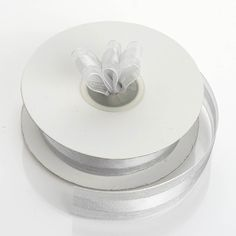 "25 Yards | 7/8"" DIY Silver Organza Ribbon Satin Center"