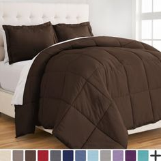 Ultra-Soft Premium 1800 Series Goose Down Alternative Comforter Set - Hypoallergenic - All Season - Plush Fiberfill, Twin Extra Long (Twin/Twin XL - Cocoa), Brown