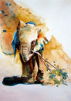 Elephant Watercolor Art | Karen Laurence-Rowe | image from http://theartofanimation.tumblr.com