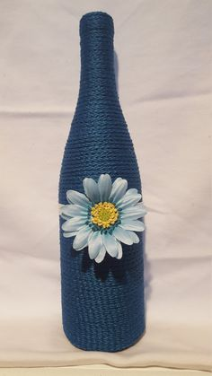 Decorated Wine Bottle - Teal with Flower, upcycled wine bottle, home decor, teal wine bottle decor, wedding centerpiece