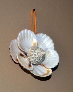 seashell flowers | Seashell Flower Wall Hanging Beach Home Decor by SeashellDreamArt, $11 ...